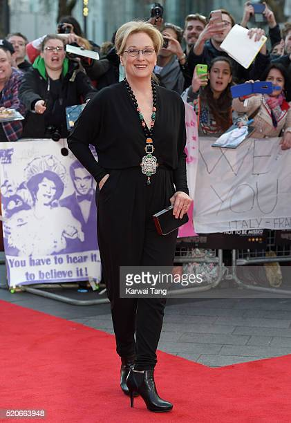 "Meryl Streep arrives for the UK film premiere of ""Florence Foster Jenkins"" at Odeon Leicester Square on April 12, 2016 in London, England."