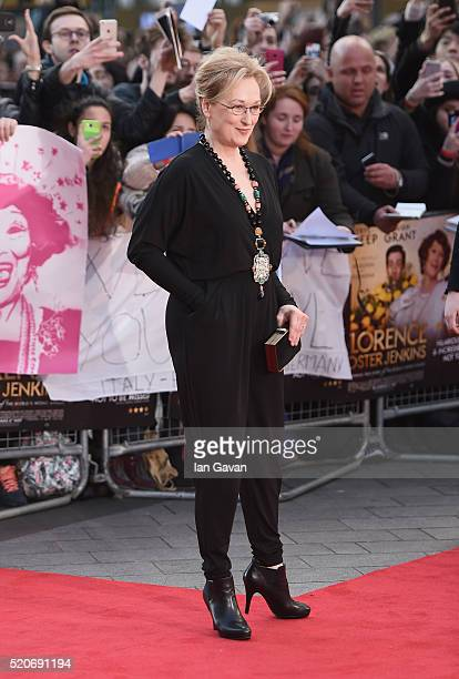 Meryl Streep arrives for the UK film premiere of Florence Foster Jenkins at Odeon Leicester Square on April 12 2016 in London England