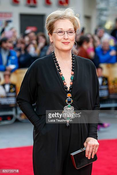 """Meryl Streep arrives for the UK film premiere Of """"Florence Foster Jenkins"""" at Odeon Leicester Square on April 12, 2016 in London, England."""