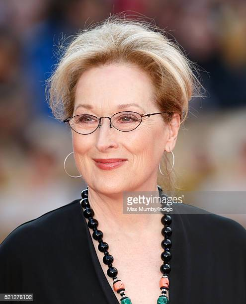Meryl Streep arrives for the UK film premiere of 'Florence Foster Jenkins' at Odeon Leicester Square on April 12 2016 in London England
