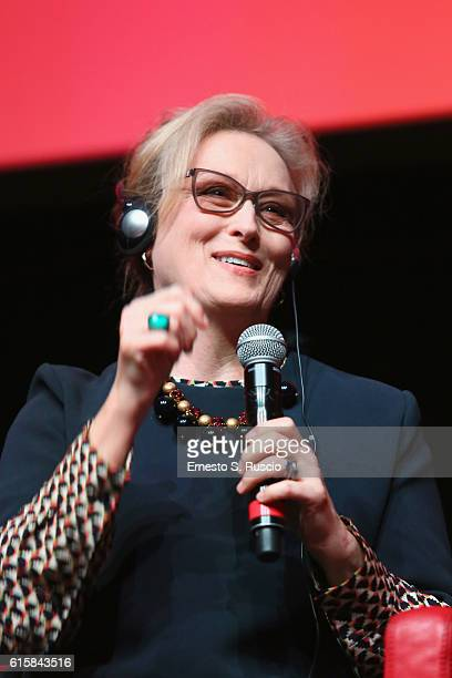 Meryl Streep attends a press conference for 'Florence Foster Jenkins' during the 11th Rome Film Festival at Auditorium Parco Della Musica on October...