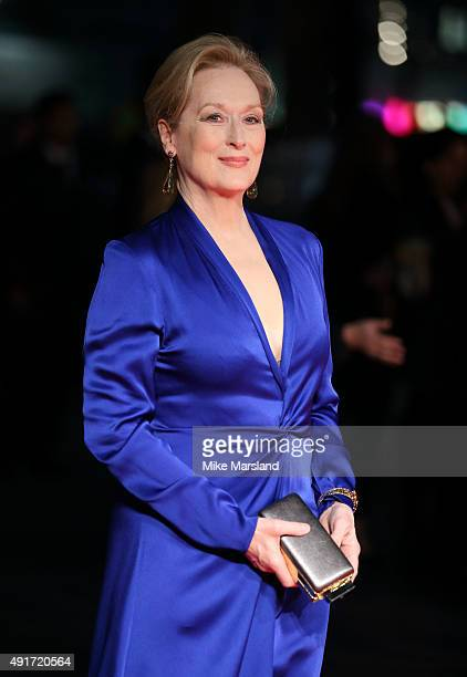 """Meryl Streep attends a screening of """"Suffragette"""" on the opening night of the BFI London Film Festival at Odeon Leicester Square on October 7, 2015..."""