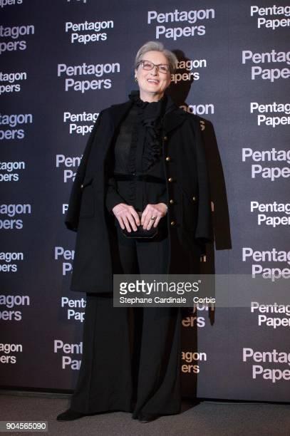 Meryl Streep attends 'Pentagon Papers' Premiere at Cinema UGC Normandie on January 13 2018 in Paris France