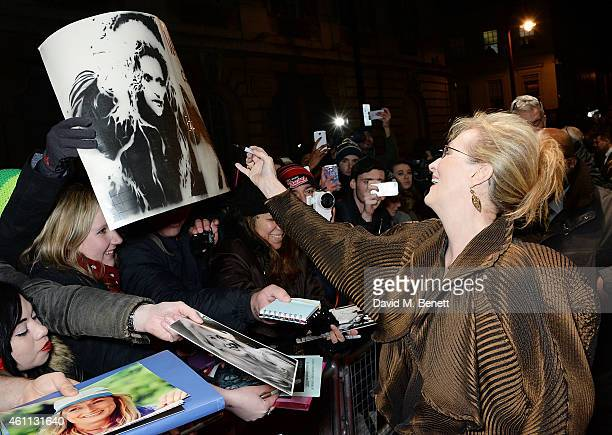 """Meryl Streep attends the """"Into The Woods"""" gala screening at The Curzon Mayfair on January 7, 2015 in London, England."""