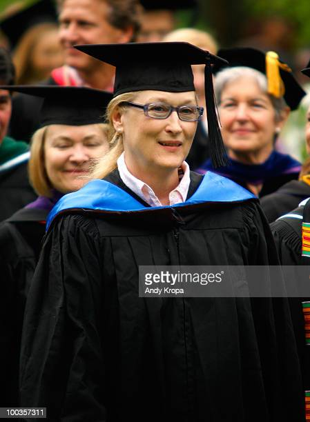 Meryl Streep attends the Vassar College 2010 commencement at Vassar College on May 23 2010 in Poughkeepsie New York