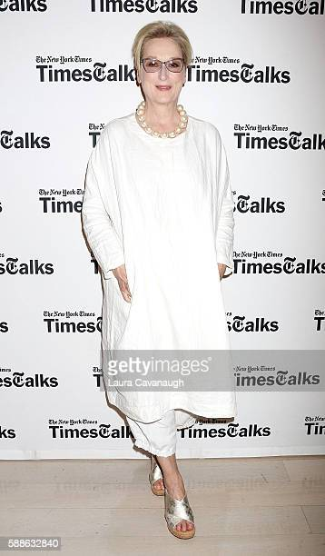 "Meryl Streep attends Times Talks to discuss ""Florence Foster Jenkins"" at TheTimesCenter on August 11, 2016 in New York City."