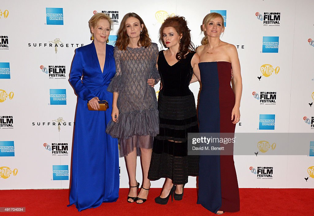 Meryl Streep, Carey Mulligan, Helena Bonham Carter and Anne-Marie Duff attend a screening of 'Suffragette' on the opening night of the BFI London Film Festival at Odeon Leicester Square on October 7, 2015 in London, England.