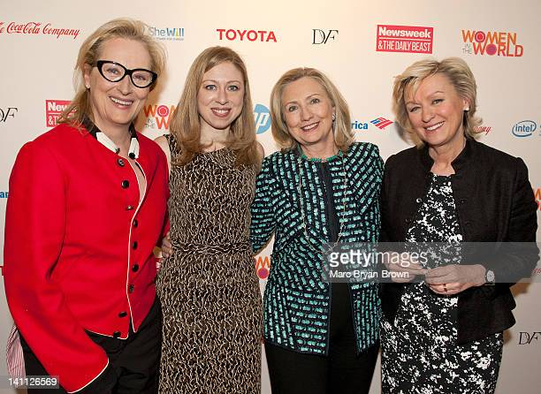 Meryl Streep Chelsea Clinton Hillary Clinton and Tina Brown attend Women in the World Stories Solutions at the David H Koch Theater Lincoln Center on...