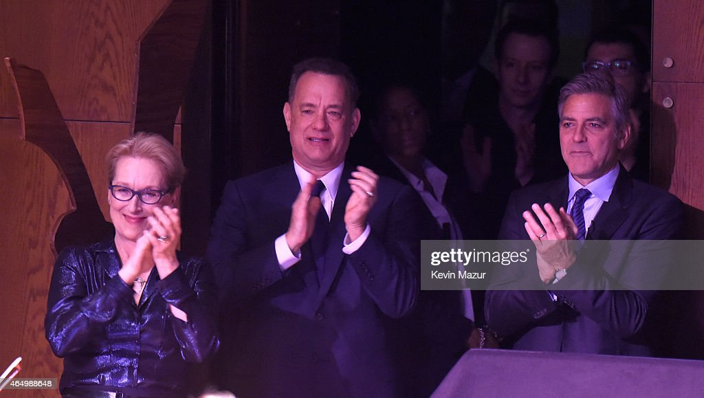 Meryl Streep, George Clooney and Tom Hanks onstage with SeriousFun campers at the SeriousFun Children's Network 2015 New York Gala: An Evening Of SeriousFun Celebrating the Legacy Of Paul Newman at Avery Fisher Hall at Lincoln Center for the Performing Arts on March 2, 2015 in New York City.