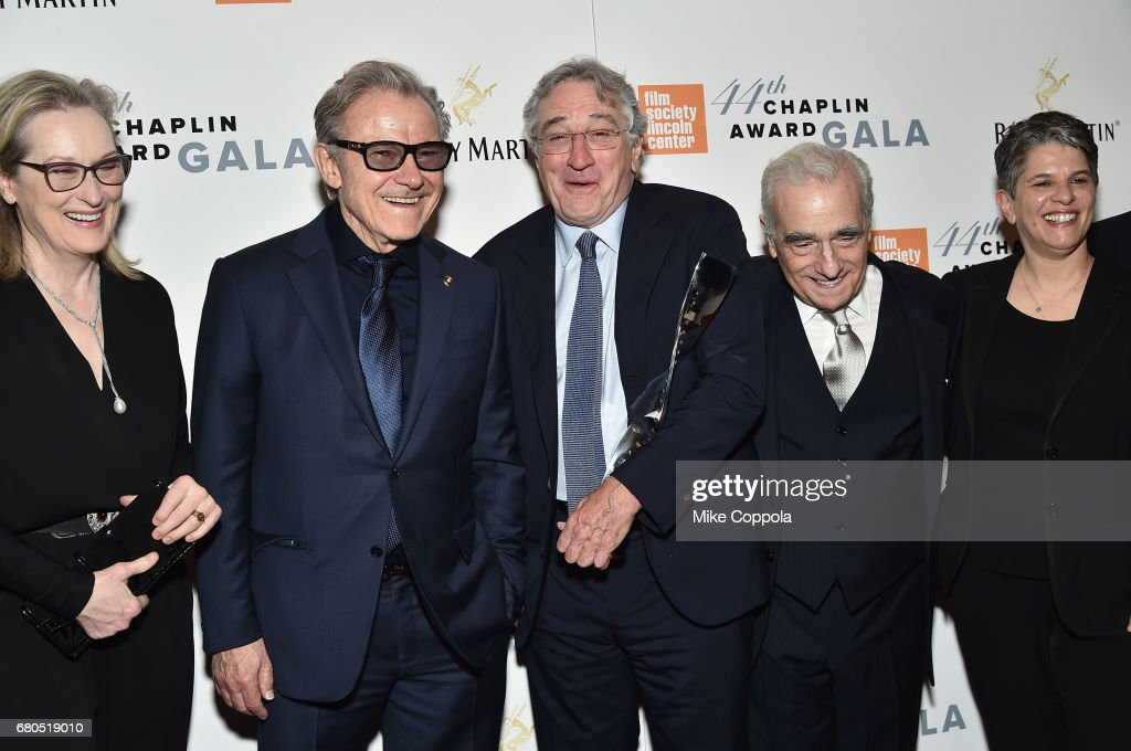 Meryl Streep, Harvey Keitel, Robert De Niro, Martin Scorsese, and Lesli Klainberg pose backstage during the 44th Chaplin Award Gala at David H. Koch Theater at Lincoln Center on May 8, 2017 in New York City.