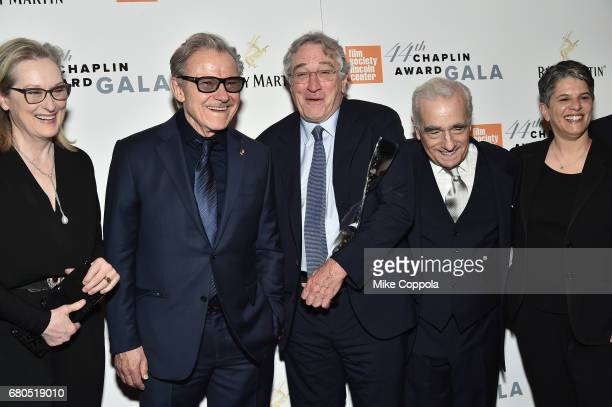 Meryl Streep Harvey Keitel Robert De Niro Martin Scorsese and Lesli Klainberg pose backstage during the 44th Chaplin Award Gala at David H Koch...