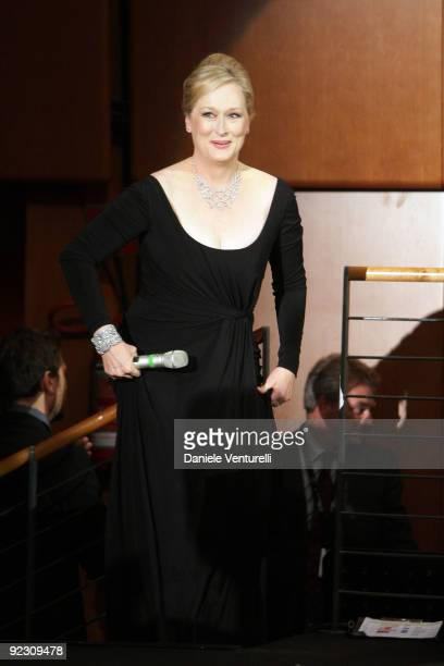 Meryl Streep holds her speech during the Official Awards Ceremony on Day 9 of the 4th International Rome Film Festival held at the Auditorium Parco...