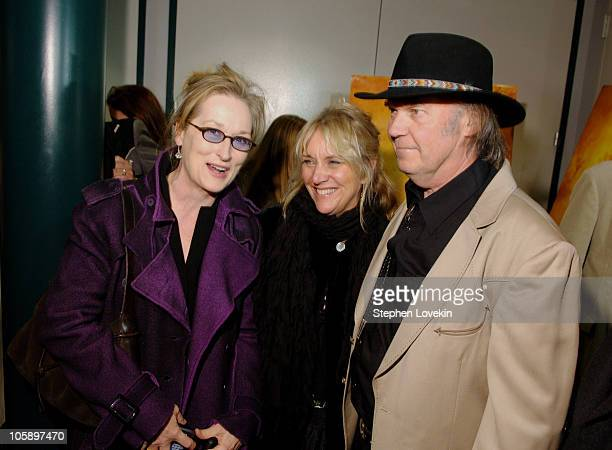 Meryl Streep Pegi Young and Neil Young during New York Special Screening of 'Neil Young Heart of Gold' at Walter Reade Theatre at Lincoln Center in...