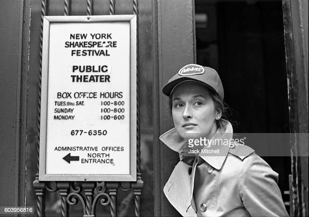 Meryl Streep photograhed outside of the Public Theater in 1979