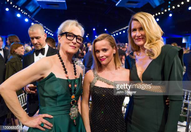 Meryl Streep Reese Witherspoon and Laura Dern attend the 26th Annual Screen Actors Guild Awards at The Shrine Auditorium on January 19 2020 in Los...