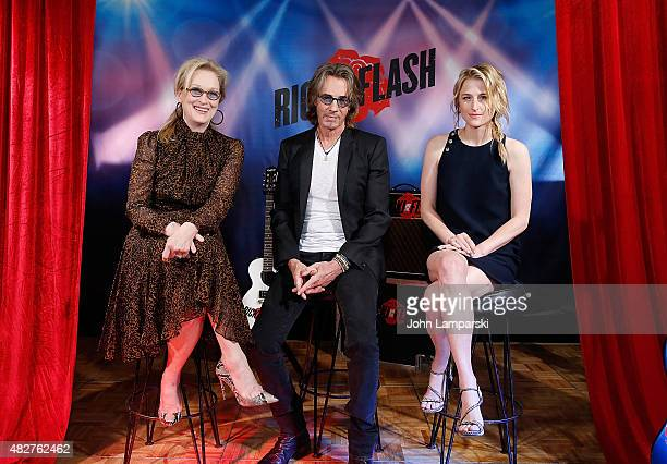 Meryl Streep Rick Springfield and Mamie Gummer attend Ricki And The Flash cast photo call at Ritz Carlton Hotel on August 2 2015 in New York City