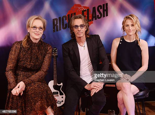 Meryl Streep Rick Springfield and Mamie Gummer attend the Ricki And The Flash cast photo call at Ritz Carlton Hotel on August 2 2015 in New York City