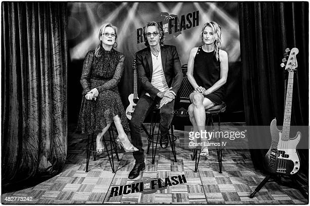 Meryl Streep Rick Springfield and Mamie Gummer attend the 'Ricki And The Flash' cast photo call at Ritz Carlton Hotel on August 2 2015 in New York...