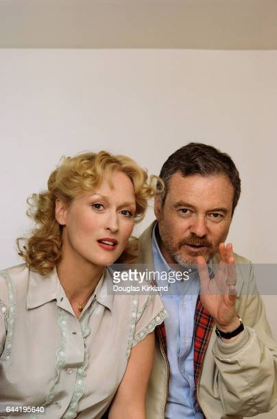 Meryl Streep sits with film director Alan Pakula who directed Sophie's Choice a film in which Meryl Streep played the title role