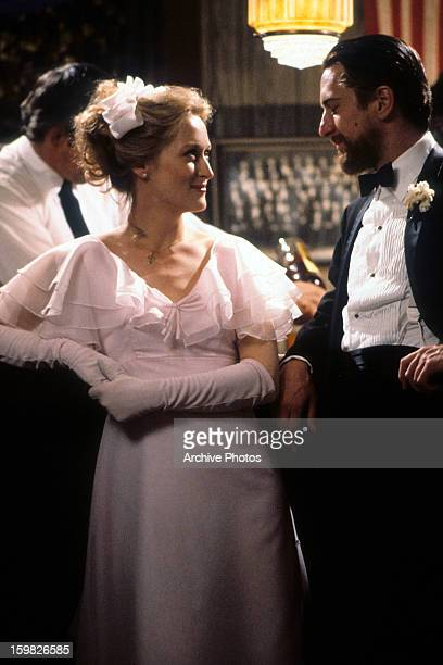 Meryl Streep smiling at Robert De Niro in a scene from the film 'The Deer Hunter' 1978