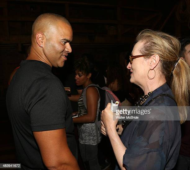 Meryl Streep visits Christopher Jackson from the cast of Hamilton backstage after a performance at the Richard Rodgers Theatre on August 13 2015 in...