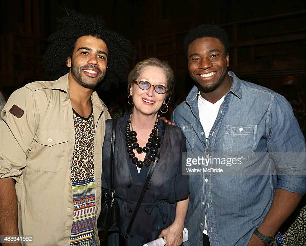 Meryl Streep visits Daveed Diggs and Okieriete Onaodowan from the cast of Hamilton backstage after a performance at the Richard Rodgers Theatre on...