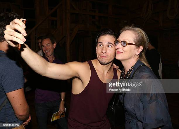 Meryl Streep visits Jon Rua from the cast of Hamilton backstage after a performance at the Richard Rodgers Theatre on August 13 2015 in New York City