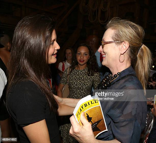 Meryl Streep visits Phillipa Soo from the cast of Hamilton backstage after a performance at the Richard Rodgers Theatre on August 13 2015 in New York...