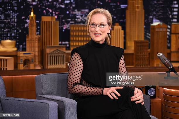 Meryl Streep Visits The Tonight Show Starring Jimmy Fallon at Rockefeller Center on August 3 2015 in New York City