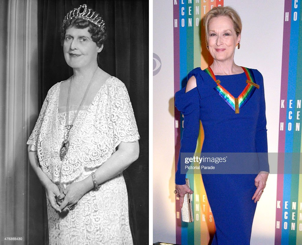In this composite image a comparison has been made between Florence Foster Jenkins (L) and actress Meryl Streep. Actress Meryl Streep will play New York heiress and amateur singer Florence Foster Jenkins along side Hugh Grant as her partner and manager St Clair Bayfield in a film biopic 'Florence Foster Jenkins' directed by Stephen Frears. WASHINGTON, DC - DECEMBER 07: Meryl Streep walks the red carpet during the 27th Annual Kennedy Center Honors at John F. Kennedy Center for the Performing Arts on December 7, 2014 in Washington, DC.