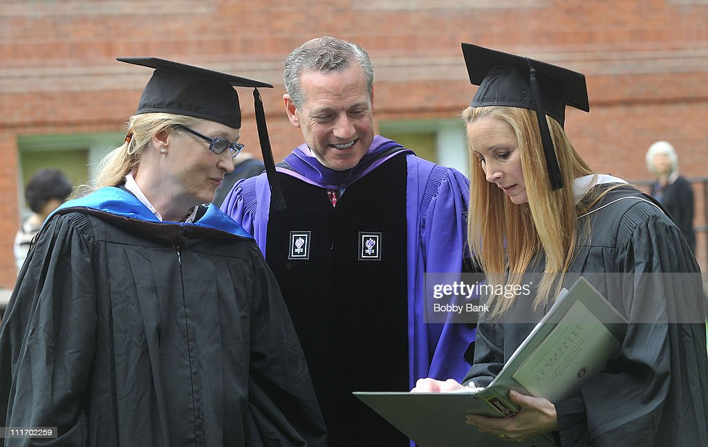 Meryl Streep, William A. Plapinger, Chair Board of Trustees, and Lisa Kudrow attend the Vassar College commencement at Vassar College on May 23, 2010 in Poughkeepsie, New York.