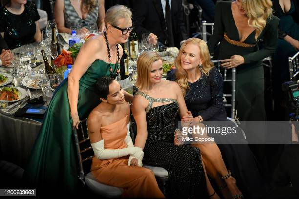 Meryl Streep Zoë Kravitz Reese Witherspoon Nicole Kidman and Laura Dern attend the 26th Annual Screen ActorsGuild Awards at The Shrine Auditorium on...