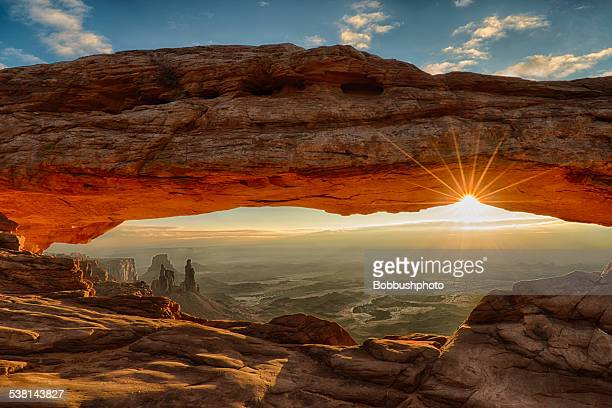 mesa arch dawn sunburst - rock formation stock pictures, royalty-free photos & images