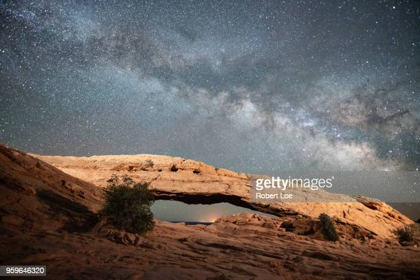 mesa arch milky way - moab utah stock photos and pictures