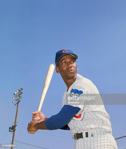 Ernie Banks of the Chicago Cubs during spring training