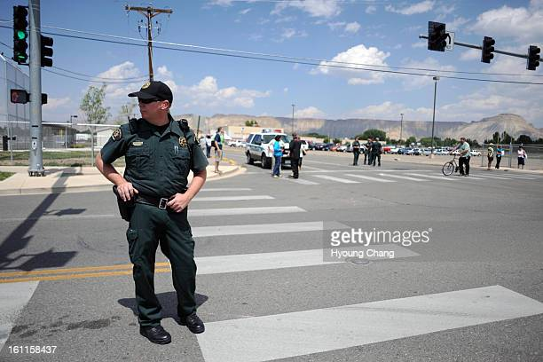 Mesa County Sheriffs are securing Grand Junction Central High School before the arriving of First Family on Saturday Hyoung Chang/ The Denver Post