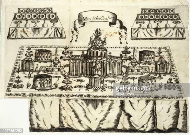 Mesa de 100 cuviertos, Arte de reposteria, en que se contiene todo genero de hacer dulces secos, y en lìquido, vizcochos, turrones, y natas: bebidas...