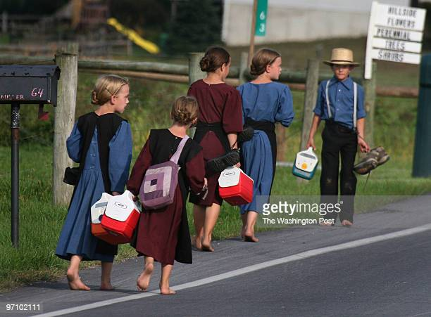 MEsad Photos by Michael Williamson 10/2/06 Neg#00000 Nervous Amish girls get a boy to escort them home after school near Bart Township