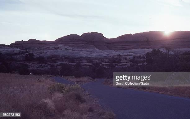 Mesas in the desert during sunset Arizona 1968