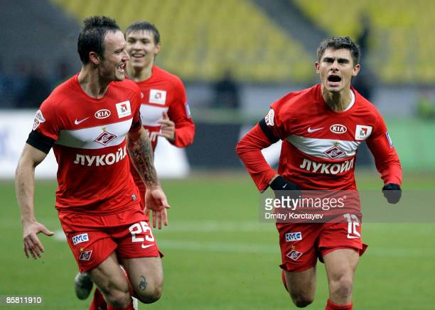 Meschini Alex and Martin Jiranek of Spartak Moscow celebrate after scoring a goal during the Russian Football League Championship match between...