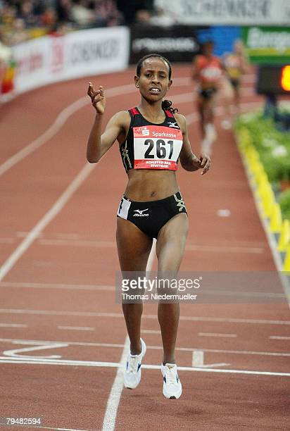 Meseret Dafar of Ethiopia competes the 3000 meters during the Sparkassen Cup 2008 at the Hanns-Martin Schleyer Hall on February 2, 2008 in Stuttgart,...