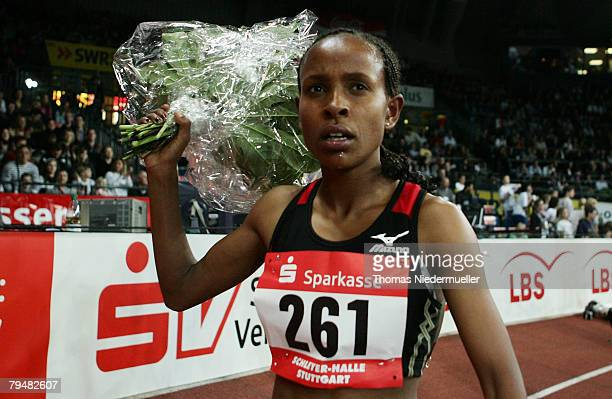 Meseret Dafar of Ethiopia is seen after the 3000 meters during the Sparkassen Cup 2008 at the Hanns-Martin Schleyer Hall on February 2, 2008 in...