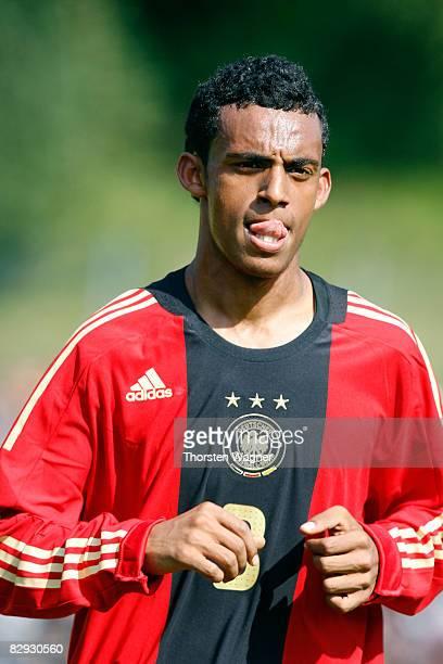 K MesfinMulugeta of Germany gestures during the U17 international friendly match between Germany and Spain at the Kieselhumes stadium in Saarbruecken...