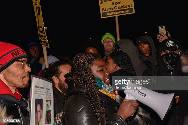 Mesha Joseph a relative of Akai speaks to the crowd at rally held at One Police Plaza the Day after NYPD Officer Peter Liang found guilty of...