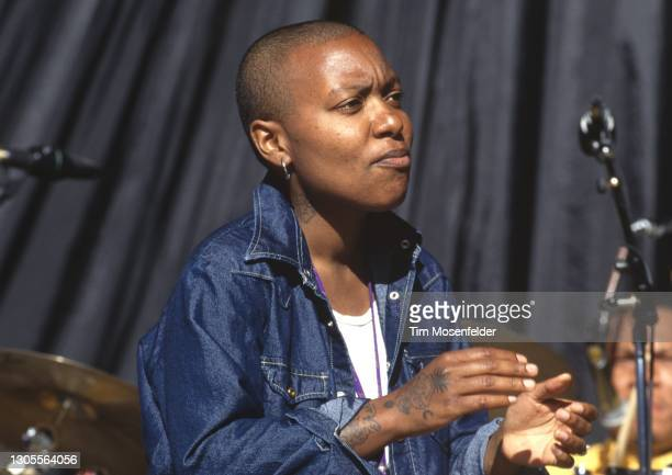 Meshell Ndegeocello performs during the Lilith Fair at Shoreline Amphitheatre on June 24, 1998 in Mountain View, California.
