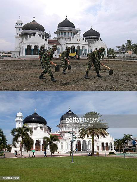 In this composite image a comparison has been made between a scene in 2005 and 2014 BANDA ACEH INDONESIA DECEMBER 13 Mesjid Raya Baiturrahman mosque...