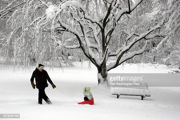 MESnow 02/12/06 Silver Spring MD Snow in the metro area Alex Newburgh pulls his daughter Gabriela along Sligo Creek Parkway this AM By James M...