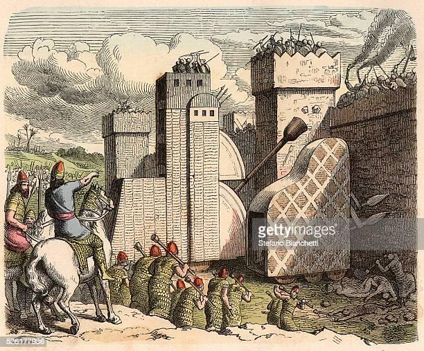 storming a fortress Coloured engraving by Heinrich Leutemann Bilder aus dem Altertume 1866