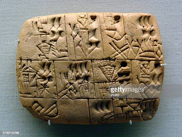 Mesopotamia Clay Tablet Pictographs drawn Early writing tablet recording the allocation of beer Iraq Late Prehistoric period 31003000BC British...