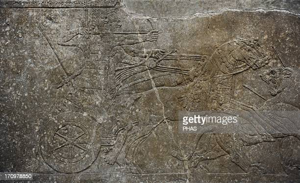 Mesopotamian art Assyrian Relief of the palace of Ashurnasirpal II or Northwest Palace at Nimrud Alabaster Dated 883859 BC It depicts the lion hunt...